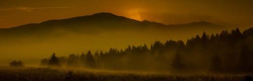Sunrise over the mountain stock photo