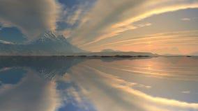 Sunrise over the mountain lake stock video