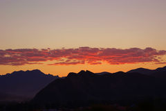 Sunrise over mountain range. In the mountains Royalty Free Stock Photography