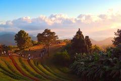 Sunrise over mountain range. At Hua Nam Dang National Park, Chiang Mai, Thailand stock photo