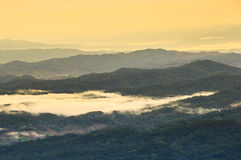 Sunrise over the mountain range. In the north of Thailand Royalty Free Stock Photography