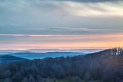 Sunrise over a mountain range. Plate Tectonics mountain range view royalty free stock images