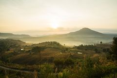 Sunrise over the mountain. In Thailand Royalty Free Stock Image