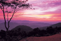 Sunrise over mountain, thailand Stock Photography