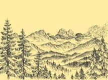 Sunrise over the mountains. Alpine panorama vector illustration