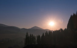 Sunrise over the mountains Stock Image