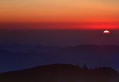 Sunrise over mountains Stock Image