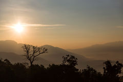 Sunrise over the Mountains. At Chiang Mai, Thailand Royalty Free Stock Images