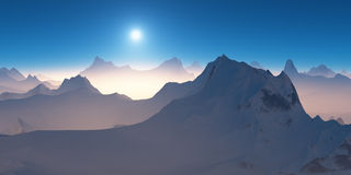 Sunrise over the mountains. Royalty Free Stock Photo