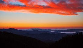 Sunrise over the mountains Stock Images