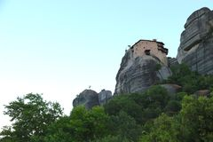 Sunrise over the mountains and monasteries of Meteora Royalty Free Stock Photography