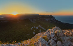 Sunrise over the mountains of Southern Crimea. View from top of Mount Ilyas Kaya. Laspi Bay. Royalty Free Stock Photography