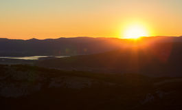 Sunrise over mountains of Southern Crimea. View from top of the mountain Ilyas Kaya. Stock Image