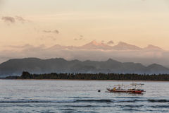 Sunrise over Mt Rinjani from Gili Air island in Lombok, Indonesi Stock Image