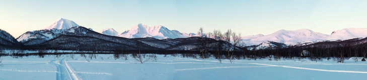 Sunrise over Nalychevo Nature Park and Koryaksky volcano Royalty Free Stock Images