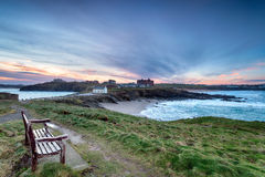 Sunrise over Newquay in Cornwall Stock Photography