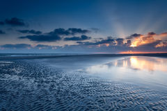 Sunrise over North sea coast at low tide Royalty Free Stock Photos