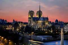 Sunrise over Notre Dame de Paris royalty free stock photography
