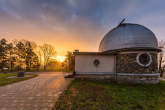 Sunrise over the observatory. Sunrise over the old astronomical observatory, Brno, Czech Republic Royalty Free Stock Photo