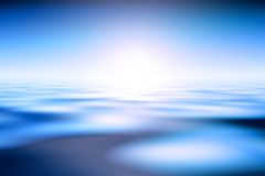 Sunrise Over Ocean. Beautiful Blue Water And Sky Background Royalty Free Stock Photo