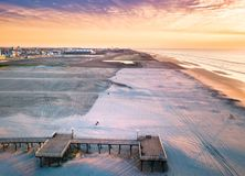 Sunrise over the ocean aerial view Royalty Free Stock Photography