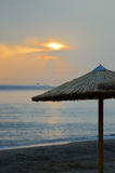 Sunrise over the ocean at Amoudara. Beach in northern Crete Stock Images