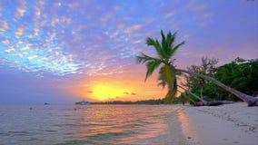 Sunrise over ocean beach in Dominican Republic stock video footage