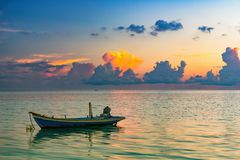 Sunrise over ocean. Calm sunrise over ocean on Maldives Royalty Free Stock Photography