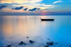 Sunrise over ocean. Calm sunrise over ocean on Maldives Stock Photo