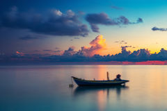 Sunrise over ocean. Calm sunrise over ocean on Maldives Stock Images