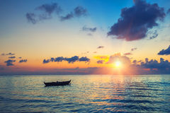 Sunrise over ocean. Colorful sunrise over ocean on Maldives Royalty Free Stock Photo