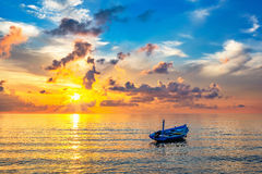 Sunrise over ocean. Colorful sunrise over ocean on Maldives Stock Photo