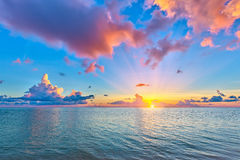 Sunrise over ocean. Colorful sunrise over ocean on Maldives Royalty Free Stock Image