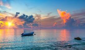 Sunrise over ocean. Colorful sunrise over ocean on Maldives Stock Images