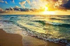 Sunrise over ocean. Colorful sunrise over ocean in Miami Stock Images