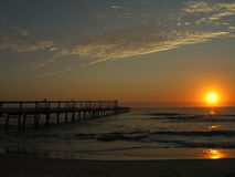 Sunrise over the Ocean. At the Jetty terminal Stock Photos