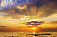 Sunrise over ocean. Nature composition Royalty Free Stock Image