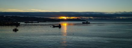 Sunrise over the ocean near Puerto Montt in Chile.  royalty free stock photos