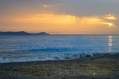 Sunrise over the ocean. In northern Crete Stock Photography