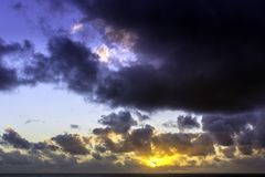 Sunrise over the ocean before storm. Sun rise over the ocean before storm / Lanzarote / Canary Islands Royalty Free Stock Photo