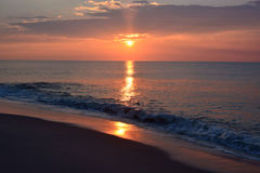 Sunrise Over Ocean. The sunrises over the ocean Royalty Free Stock Photography