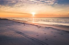 Sunrise over the ocean aerial view Stock Photo