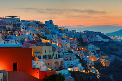 Sunrise over Oia, Santorini Stock Image
