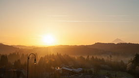 Sunrise over Oregon Cascade Range in Happy Valley City stock video