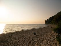 Sunrise over Orlowski Cliff and a beautiful sandy beach by the Baltic Sea, Poland. royalty free stock photos
