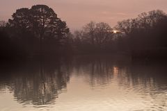 Sunrise over the Ornamental Lake on Southampton Common royalty free stock images