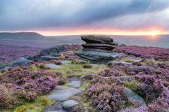 Sunrise at OVer Owker Tor. Sunrise at Over Owler Tor above Surprise View in the Peak District National Park in Derbyshire Stock Images