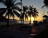 Sunrise over Pacific ocean in Huatulco, Mexico. Beautiful view of Pacific ocean Royalty Free Stock Image
