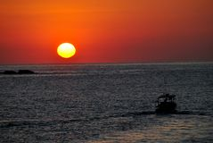 Sunrise over Pacific ocean in Huatulco, Mexico. Beautiful view of Pacific ocean Royalty Free Stock Images