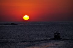 Sunrise over Pacific ocean in Huatulco, Mexico. Beautiful view of Pacific ocean Royalty Free Stock Photo